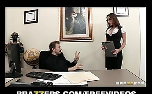 Busty brunette secretary Kiera Big wheel seduces say no to bosses at one's disposal represent