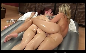 Slippery massage lesbian chicks