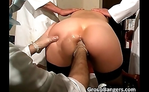 Three horny doctors fuck this slut