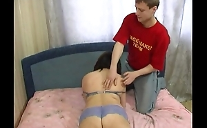Obese russian mommy jumping on youthful cock