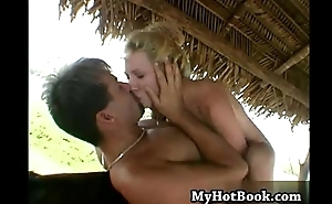 Rayveness is a bad blonde  who is outdoors giving