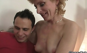 Old bitch jumps not susceptible young cock
