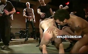 Hunk is on all fours having his ass teased at the end of one's tether men turn this way make him suck their dicks