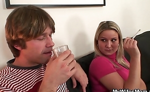 This babe watches their way mom rides their way BF's cock