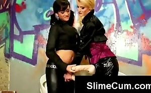 Filthy youthful blonde and brunette find gloryhole dick to suck