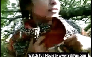 young indian girl showing jugs and pussy open-air