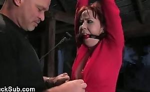 Bondaged sexy redhead fucked yon anus