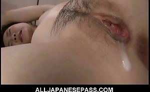 Oriental eats her react to creampie after a hard fuck