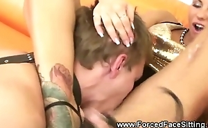 Hot female-dominant massages cock with feet