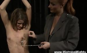 Caged lez slave nipp n tit punishment
