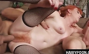 Mature redhead babe with hairy twat plant two schlongs