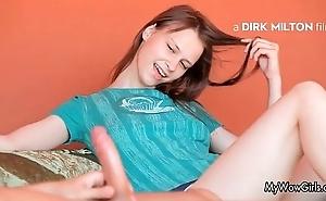 Pygmy teen girl stroking a big Hawkshaw