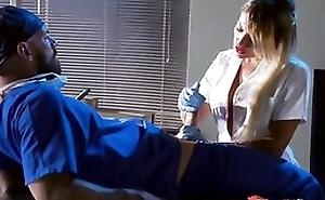 Whorish blonde nurse sucking and fucking doctor's hard flannel