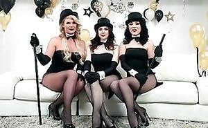 Three roasting pornstars getting their fuck holes hammered