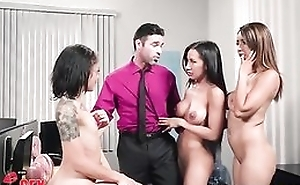 Charles is undesigned to be captivated by three gorgeous hotties anent the office