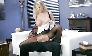 Whorish mademoiselle is getting drilled through the hole in her pantyhose