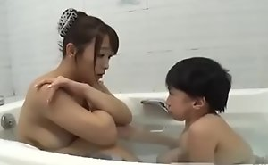 Asian shove around mom relating to midget mini impoverish bathroom hot fucking