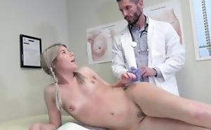 Young flaxen-haired girl seduces doctor to hardcore sex with an increment of blowjob