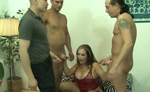 Mature and threee guys in gangbang fucking hardcore sexual connection function until spunk flow