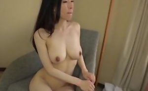 Asian japanese av idol being fucked in hardcore sex movie, man in costume is make mincemeat of her pussy and cums upstairs her tits