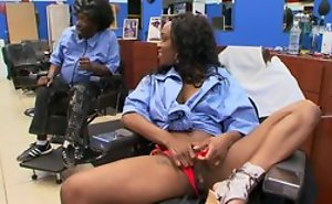 Ebony black customer handy haircutters salon does oral job to man, riding his dick with an increment of moaning from pleasure
