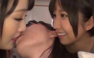 Minato Riku having lesbian sport upon her besties in bed
