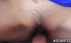 Pretty glum girl receives their way tiny pussy crushed to off out of one's mind a obese cock