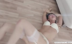 Nympho Petite Sasha Colibri Pissing and Rough Big nefarious cock Group-sex with a Creampie Finish