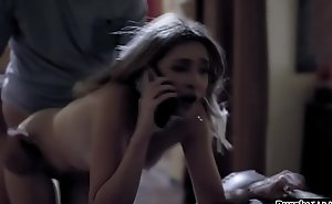 Tow-headed teen sitter trickster fucked wide of means of phonesex with bf
