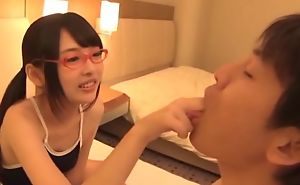 Cute Asian girl with glasses rides hard dick with a great pleasure