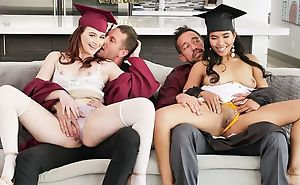 Two kinky college girls with huge lecherous appetite swapping their dads