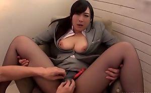 Asian slut serves lasting nib without taking lacking the brush pantyhose