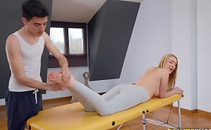 Fit blondie gets oiled up increased by fucked by her masseur