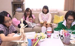 Japanese teen girls sucking and bonking permanent tab in turn