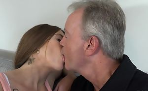 Sex-starved murky pleasuring old man on the love-seat