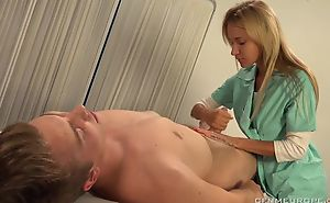 Luscious blonde doctor fucks serendipitous chap to strapon dildo