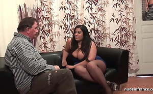 Casting of a huge boobed french BBW in fishnet nylons