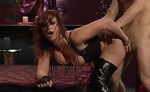 Passionate redhead slattern up high boots receives fucked hard