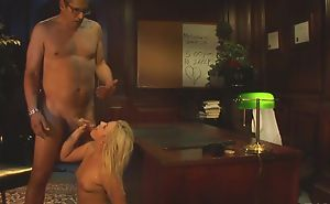 Glamorous girl with natural chest gets pounded on the table