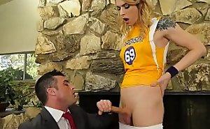 Casey Kisses XXX ladyboy fuck girl and mendicant