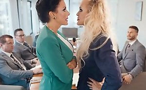 Business woman Brandi Love lesbian lovemaking in the office
