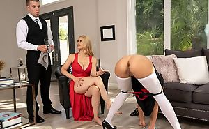 Glamorous blonde non-specific fucks the brush maid and butler
