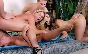 Mind-blowing swinger league together with three horny ladies