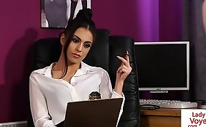 Stockinged brit voyeur instructs slot sit forth