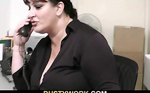 Horn-mad co-worker copulates Plumper