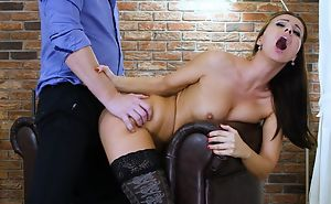 Dark-haired nymph in black stockings gets properly fucked