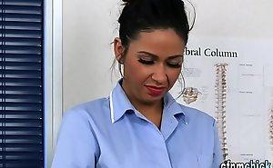 Uniformed nurses get jizz