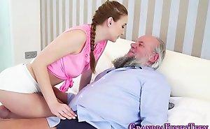 Cummed teen blows old man
