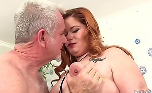 Fat Redhead Lilly Lust Sucks a Impervious Cock added to Then Gets Drilled