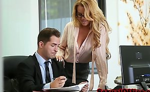 Busty office transcriber group-fucked desist the table